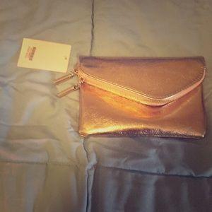 Handbags - Rose gold shimmery clutch handbag with strap
